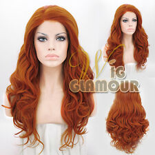 "Long Curly 20"" Pumpkin Orange Customizable Lace Front Hair Wig Heat Resistant"