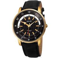 Men's August Steiner AS8213YGB Three Hand Quartz Movement Leather Strap Watch