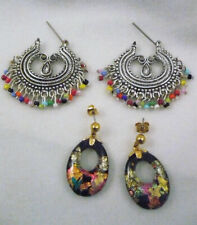 2 pair colorful earrings silver multi-color dangle beads & black ovals w/foil