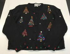 Emma Tricot Cardigan Small Black Christmas Trees Beaded Embellished 1998 S