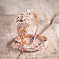 2Pc Ring/Set 18K Rose Gold Plated White Topaz Wedding Engagement Ring Size 5-10