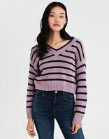 New Women's American Eagle Striped V-Neck Pullover Purple Sweater Sizes M, L, XL