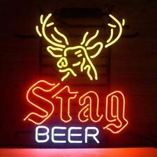 "New Stag Beer Deer Man Cave Neon Light Sign 19""x15"" Real Glass Artwork Bar"
