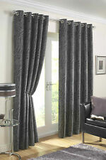 "EYELET READY MADE LINED CURTAINS 66"" x 72"" SIERRA SILVER SLATE BLACK LUXURY"