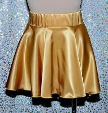 GOLD SATIN CIRCLE SKATER SKIRT ..SIZE S-M PULL ON DANCE, COSTUME , CLUB WEAR.