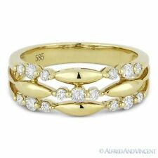 Fashion Ring in 14k Yellow Gold 0.37 ct Round Cut Diamond Tri-Cluster Right-Hand
