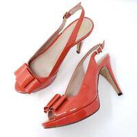 Vince Camuto Womens Slingback Peep Toe High Heel Pumps Sz 8 B Patent Leather AVA