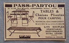 Publicité PASS PARTOU chaises table pliante camping 1935  french advert