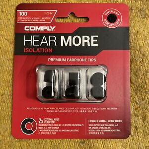 Comply Foam T-100 Isolation 3 Pairs In-Ear Earphone Tips Medium Black PS