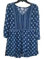 J. Jill Women's Blue Floral Tunic Top 3/4 Sleeve V-neck Fitted waist Size M