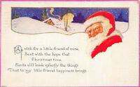 Christmas Greetings 1924 Postcard Santa Claus Snow Covered Cottage