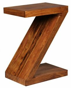 """WOHNLING Beistelltisch MUMBAI Massivholz Sheesham """"Z"""""""" Cube 59cm hoch Wohnzimm"""