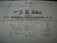 1901 KEHOE GENERAL STORE 2ND ST PORTSMOUTH OHIO OH LETTERHEAD 117 YEARS OLD