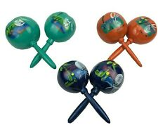 Mexican Maracas Gourds Pair Rumba Shakers Assorted Colors Handmade