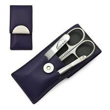 Hans Kniebes Sonnenschein 3-Piece Manicure Set in Nappa Leather Case | Purple