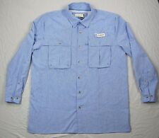 Magellan Men's Solid Blue Polyester Hiking Camping Fishing Vented Shirt Large