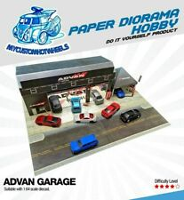 1:64 scale ADVAN Garage Workshop & Canopy - Diorama Building Kit for Hot Wheels