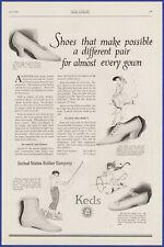 Vintage 1920 KEDS Shoes Fashion Sneakers Ephemera US Rubber 20's Print Ad