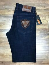 Zilli Jeans Ultra Luxury Blue Jeans Brown Accents Size 33 Embroideries Leather