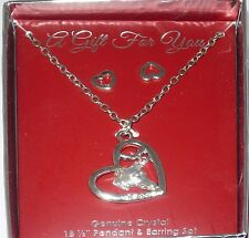 SP Greyhound Dog Silhouette Silvertone Necklace Crystal Hearts Silvertone