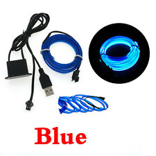 1m/2m/3m USB Neon LED Light Glow EL Wire String Strip Rope Tube Decor Car Party