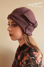 1920s 30s Flapper MAUVE CLOCHE HAT BOW 100% WOOL M/L new vintage Anna Chocola