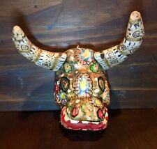 Hand-Carved Mexican Wooden Mask Diablo Beast Bull Folk Art Horns Colorful Old
