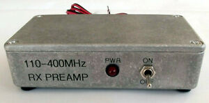 Scanner Preamp 110-400MHz 17dB gain, & 0.6m lead, 12/13.5VDC.  Made in Dorset UK