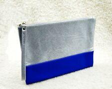 Shiseido Silver & Blue Makeup Cosmetics Bag / Pouch, Brand New!
