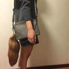 Real Animal Fur Large Golden Brown Crystal Fox Tail Keychain Tassel Bag Charm