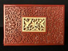 Vtg Antique Chinese Cinnabar Red Lacquer Box Bone Carving Top Floral Decoration