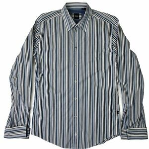 Hugo Boss Mens Long Sleeve Button Up Slim Fit Shirt French Cuff Blue Size Medium