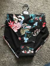 BNWT M&S Hipster Bikini Bottoms Black & Floral Size 14 Free P&p Stunning See Pic