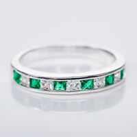 Fashion Ring 925 Silver Jewelry Green Emerald Wedding Party Ring Size 6-10
