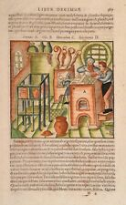 Agricola-de de Re Metallica-original Antique Print 1540-oro y plata 367