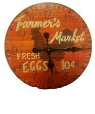 Farmers Market Clock- Market Clock- Kitchen Clock. Fresh Eggs. 12 inch