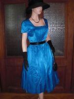 Vtg Original 50s Royal Blue Satin Full Skirt Prom Races Dress! Size 8/10 Mad Men