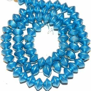 W328 Blue Metallic 8mm Bicone Rondelle Wood Beads 15""
