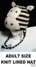 deLux ~ ZEBRA HAT knit ADULT toque beanie costume LINED striped horse animal cap
