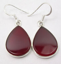 ".925 Sterling Silver Beautiful RED CARNELIAN FLAT GEMSTONE Earrings Pair 1.6"""