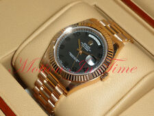 "Rolex Day Date II Rose Gold 41mm President Fluted Bezel ""Black Out"" Dial 218235"