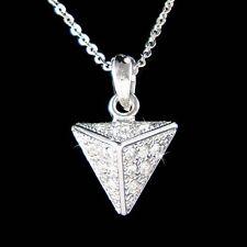 w Swarovski Crystal Rock Punk Pyramid Stud Spike Triangle Jewelry Charm Necklace