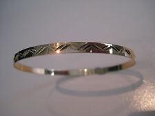 Oro Amarillo Brazalete Esclavo Talla Diamante Brillante 4mm Sólido 9ct