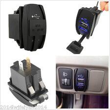 12V-24V Blue Light Dual USB Car Charger Socket ARB Carling Rocker Switch 5V 3.1A