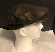 Orvis VTG Brown Deerskin Leather Driving Hat Newsboy Cap Cabbie S/M Union Made