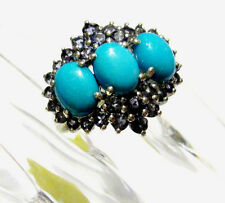 Sleeping Beauty Turquoise Oval & Iolite Cocktail Ring, Silver, Size 8, 5.90(TCW)
