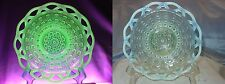 "IMPERIAL GLASS""VINTAGE~1930s""VASELINE""OPALESCENT""LACE EDGE""SM""CAKE PLATE/PLATTER"