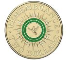 Australian Two Dollar $2 coin - 2014 - ANZAC GREEN Remembrance Uncirculated mr