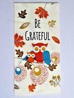 Be Grateful Owls on Branch Flour Sack Kitchen Towel Birds Autumn Fall Leaves