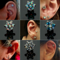 Titanium Fire Opal Zircon Ear Cartilage Tragus Helix Piercing Jewelry Earrings